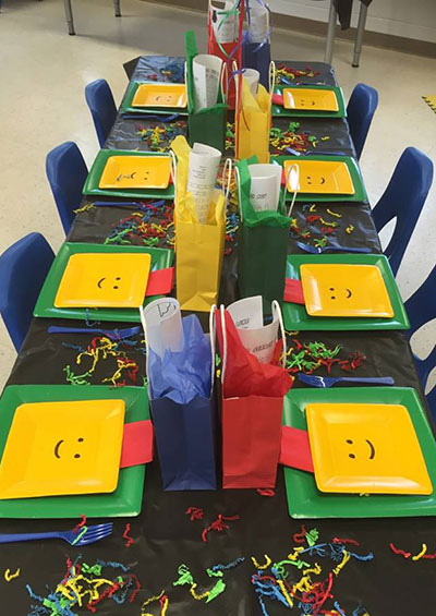 Birthday Party table set up