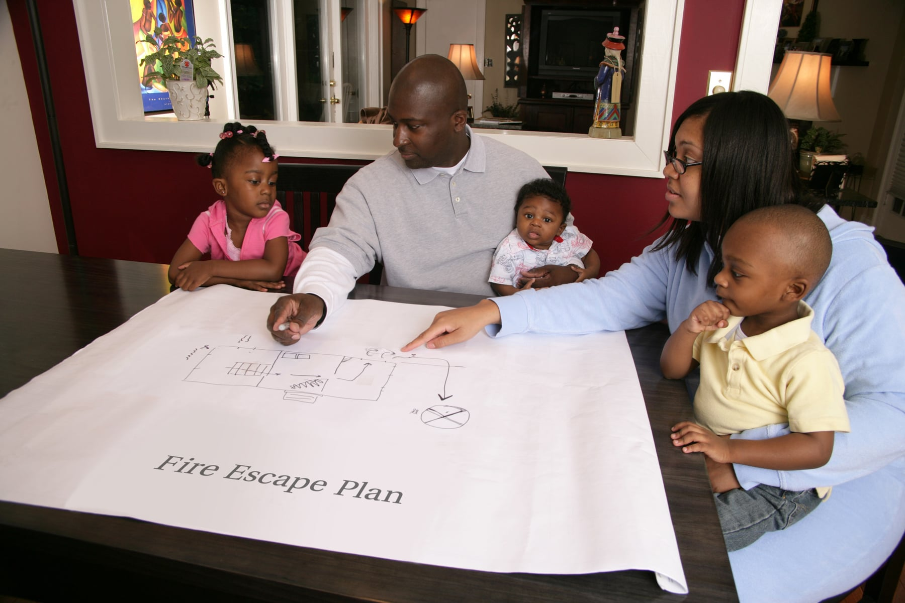 Family discussing an escape plan